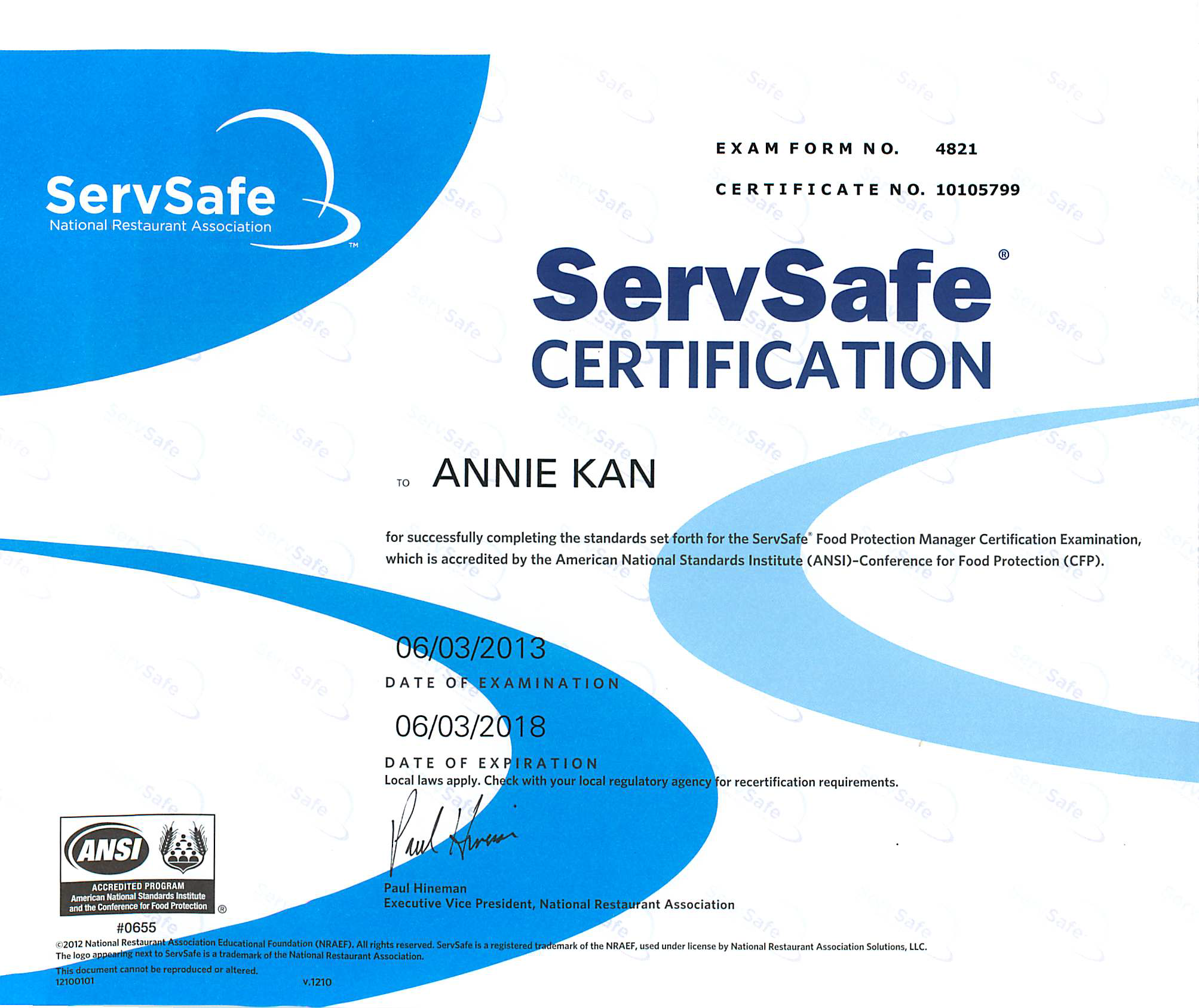 License certificates annie kans dietetic portfolio nra servsafe food protection manager certification june 3 1betcityfo Gallery